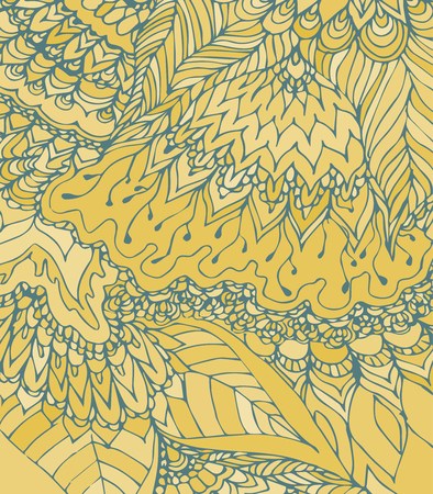 gentle background: Vector texture with abstract flowers. Summer, spring or autumn template. Gentle background. Warm colored pattern. Yellow monochrome backdrop.