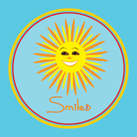 beam with joy: Vector positive illustration of smiling sun in the round frame on the blue background.