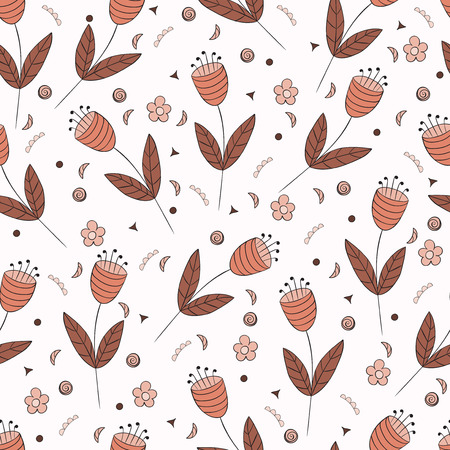 floret: Bellflowers seamless pattern. Vintage background. Orange brown flowers. Floral texture. Light backdrop. Autumn colors. Vector illustration.