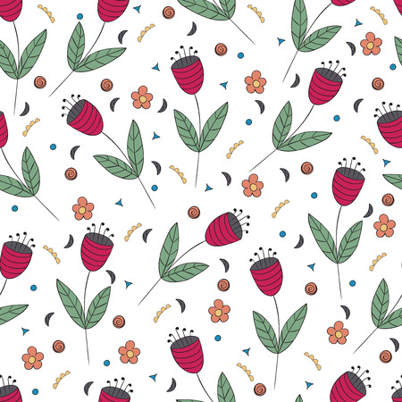 floret: Cute bellflowers seamless pattern. Vintage background. Red flat flowers isolated on white. Floral texture. Summer backdrop. Vector illustration.