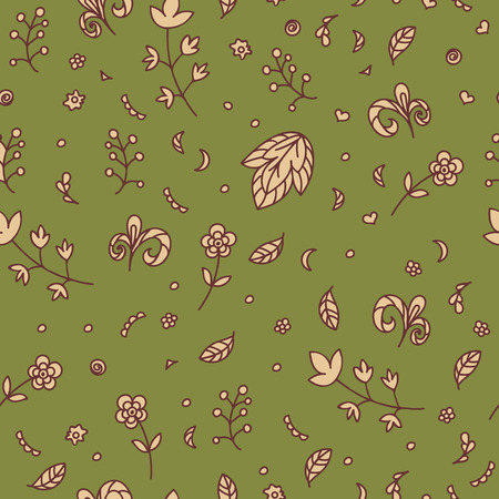 warm colors: Floral texture. Doodle seamless pattern. Abstract beige flowers and elements on the green background. Vector illustration. Decorative card. Warm colors.