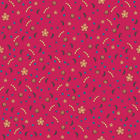 tiny: Cute tiny flowers and elements. Seamless pattern. Vintage red background. Floral texture. Bright backdrop. Vector illustration.