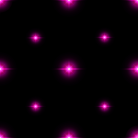 flashes: Seamless pattern of luminous stars. Illusion of light flashes. Pink flames on a black background. Abstract background. Vector illustration. Illustration