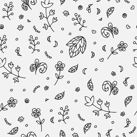 scetch: Floral texture. Doodle seamless pattern. Abstract flowers and elements on the light gray background. Vector illustration. Decorative card.