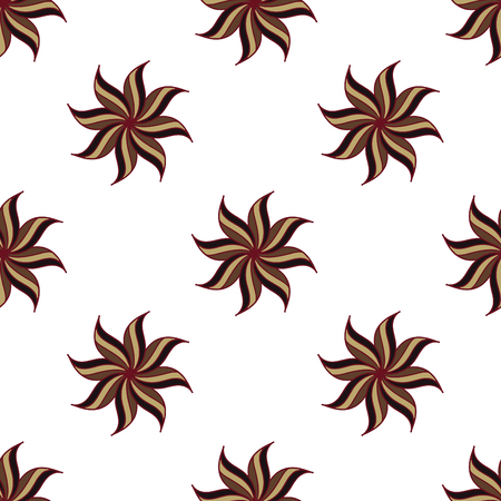 star anise: Stylized star anise seamless pattern. Brown elements on white background. Abstract texture. Vector illustration.