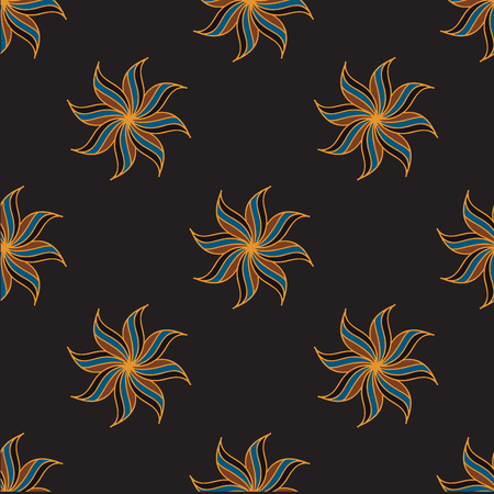 anise: Stylized star anise seamless pattern. Dark background. Abstract texture. Vector illustration.