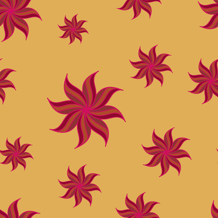 anise: Stylized star anise seamless pattern. Red elements on yellow background. Abstract texture. Summer bright backdrop. Vector illustration. Illustration