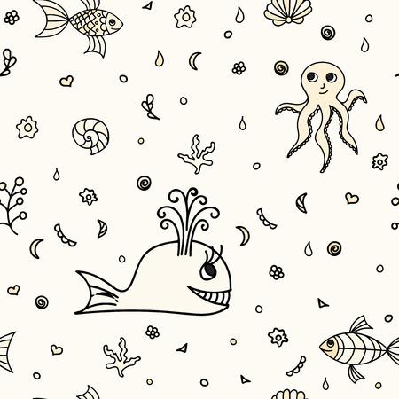 La Fauna Submarina, Animales Del Dibujo. Ilustración Vectorial De ...