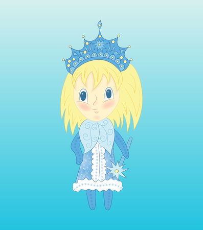 blond hair: Cute chibi Snow Maiden in a blue dress. Vector Christmas illustration of funny little girl with blond hair. Illustration