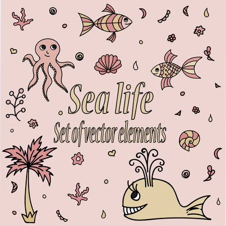 aquatic life: Set of sea animals and elements. Cute aquatic creatures. Hand drawn illustration with shells, whale, palm tree, fishes, octopus and coral. Vector cartoon icons. Marine life.