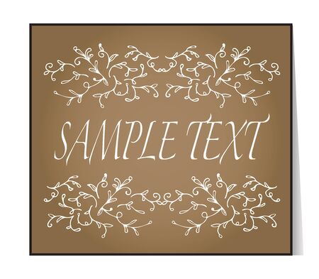 craft ornament: Elegant text frame. Floral vintage hand drawn vignettes. Beautiful banner, card, invitation or label. Ornament from twigs. Brown background. Craft paper imitation. Place for text. Vector Illustration. Illustration