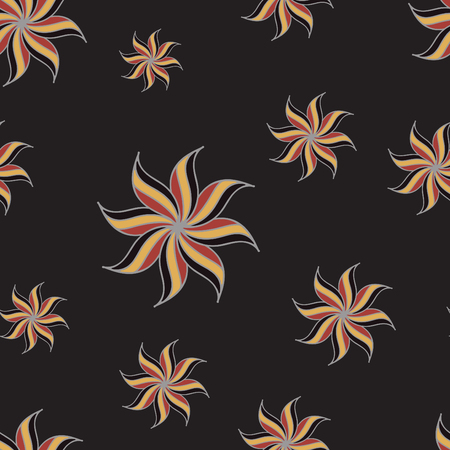 star anise: Stylized star anise seamless pattern. Dark background. Abstract texture. Vector illustration.