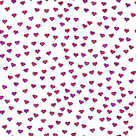 tiny: Seamless pattern. Tiny pink and purple hearts. Abstract repeating. Cute backdrop. White background. Template for Valentines, Mothers Day, wedding, scrapbook, surface textures. Vector illustration.