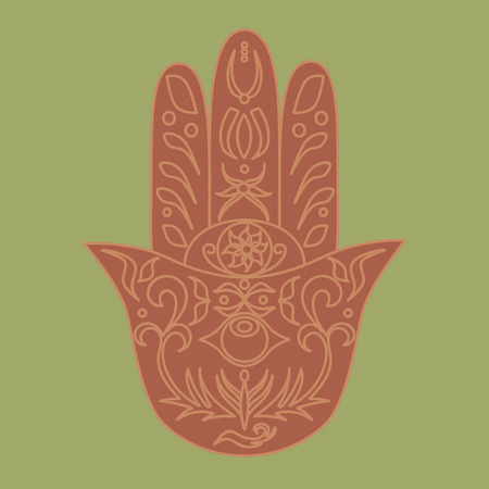 fatima: Elegant ornate hand drawn Hamsa. Hand of Fatima. Good luck and protection amulet in Indian, Arabic Jewish cultures. Ornamental isolated vector illustration.Card with symbol of strength and happiness. Illustration