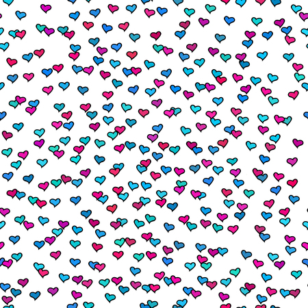 Seamless pattern with tiny colorful hearts. Abstract repeating. Cute backdrop. White background. Template for Valentine's, Mother's Day, wedding, scrapbook, surface textures. Vector illustration.