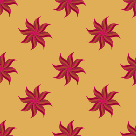 badian: Stylized star anise seamless pattern. Red elements on yellow background. Abstract texture. Summer bright backdrop. Vector illustration. Illustration
