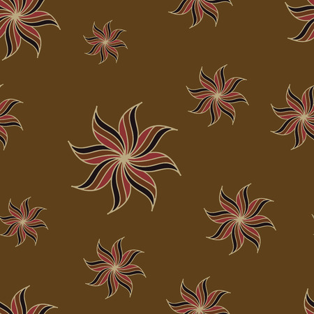 anise: Stylized star anise seamless pattern. Brown background. Abstract texture. Vector illustration.