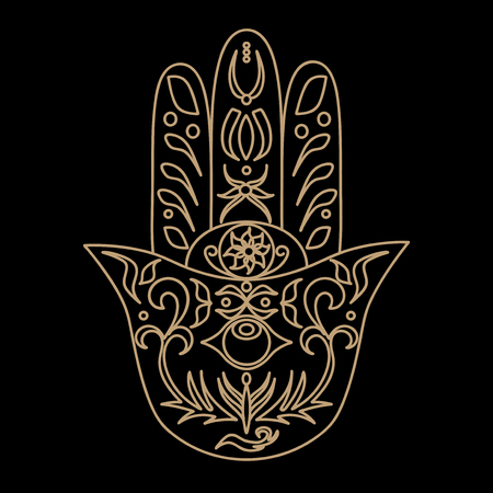 mysticism: Elegant ornate hand drawn Hamsa. Hand of Fatima. Good luck and protection amulet in Indian, Arabic Jewish cultures. Ornamental isolated vector illustration.Card with symbol of strength and happiness. Illustration