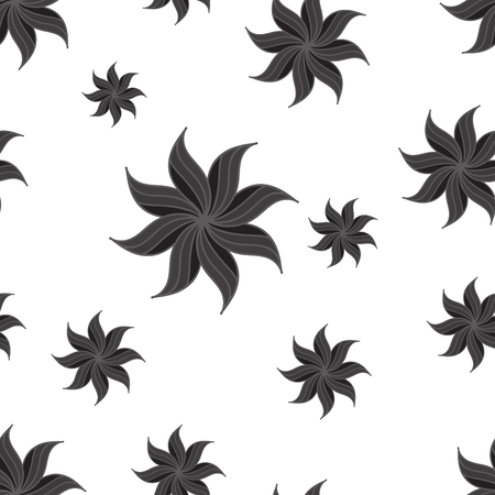 star anise: Stylized star anise seamless pattern. Dark gray elements on white background. Abstract texture. Vector illustration.