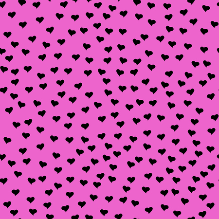 Seamless pattern with tiny black hearts. Abstract repeating. Cute backdrop. Hot pink background. Template for Valentine's, Mother's Day, wedding, scrapbook, surface textures. Vector illustration.