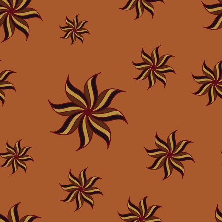 anise: Stylized star anise seamless pattern. Brown elements on orange background. Abstract texture. Summer bright backdrop. Vector illustration. Illustration