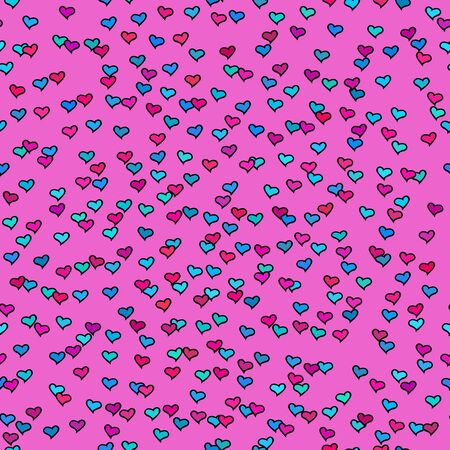 hot pink: Seamless pattern with tiny colorful hearts. Abstract repeating. Cute backdrop. Hot pink background. Template for Valentines, Mothers Day, wedding, scrapbook, surface textures. Vector illustration. Illustration