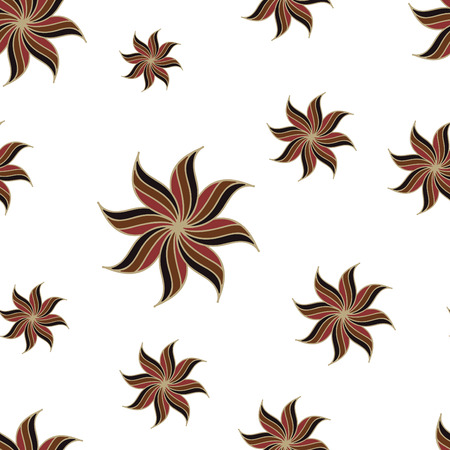 anise: Stylized star anise seamless pattern. Brown elements on white background. Abstract texture. Vector illustration.