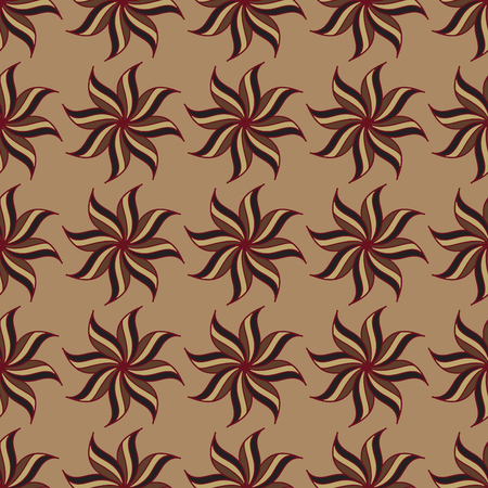 star anise: Stylized star anise seamless pattern. Brown background. Abstract texture. Vector illustration.