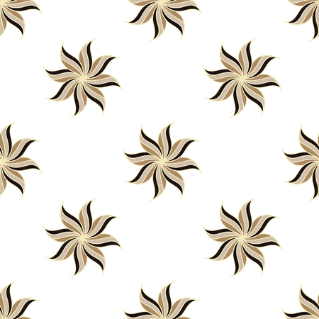 badian: Stylized star anise seamless pattern. Light background. Abstract texture. Vector illustration.