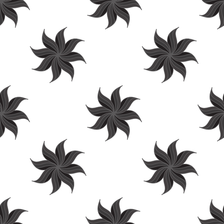 badian: Stylized star anise seamless pattern. Dark gray elements on white background. Abstract texture. Vector illustration.