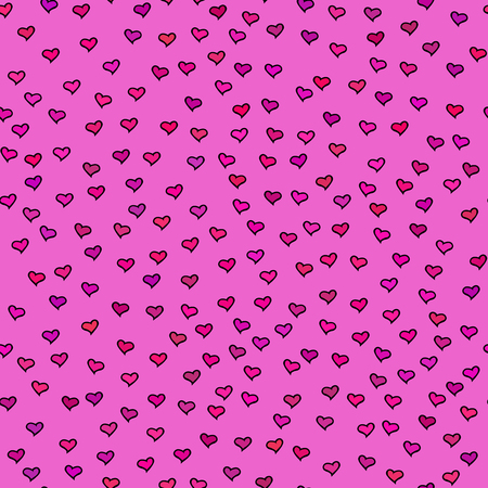 hot pink: Bright seamless pattern with tiny hearts. Abstract repeating. Cute backdrop. Hot pink background. Template for Valentines, Mothers Day, wedding, scrapbook, surface textures. Vector illustration.