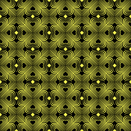 clover backdrop: Seamless geometric pattern with stylized hearts. Repeating vintage texture. Abstract yellow and black background. Retro backdrop. Celtic element. Four-leaf clover shaped knots.Vector illustration.