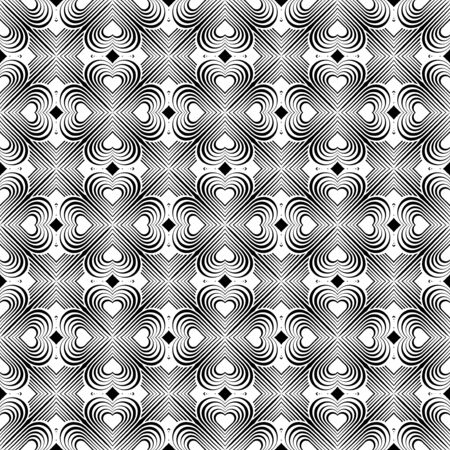 coop: Seamless geometric pattern with stylized hearts. Repeating vintage texture. Abstract white and black background. Retro backdrop. Celtic element. Four-leaf clover shaped knots.Vector illustration. Illustration