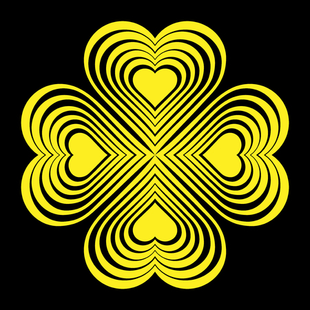 fourleaf: Yellow Celtic heart knot - stylized symbol. Made of hearts. Four-leaf clover. Isolated design element. Black background. Vector illustration.