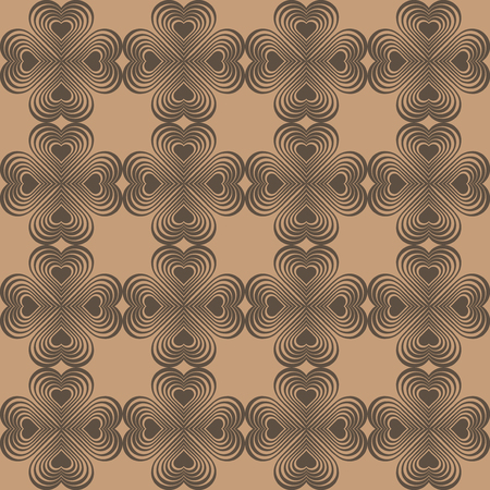 clover backdrop: Seamless geometric pattern with stylized hearts. Repeating vintage texture. Abstract brown background. Beige retro backdrop. Celtic element. Four-leaf clover shaped knots. Vector illustration. Illustration