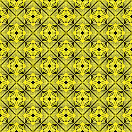 coop: Seamless geometric pattern with stylized hearts. Repeating vintage texture. Abstract yellow and black background. Retro backdrop. Celtic element. Four-leaf clover shaped knots.Vector illustration.