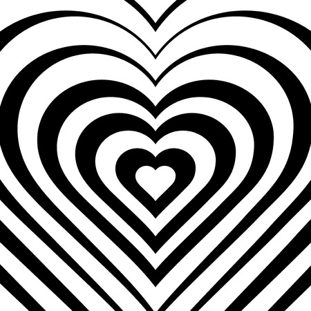 white heart: Vector illustration of abstract heart. Love symbol. Geometric background. Optical illusion. White and black backdrop. Valentines Day card. Graphic poster. Use for invitation, wallpaper, web element.