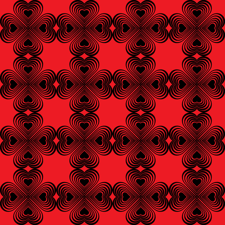red clover: Seamless geometric pattern with stylized hearts. Repeating vintage texture. Abstract red and black background.Bright retro backdrop. Celtic element. Four-leaf clover shaped knots.Vector illustration.