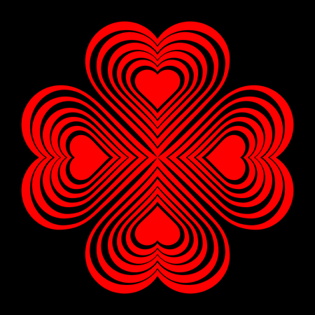 Red Celtic heart knot - stylized symbol. Made of hearts. Four-leaf clover. Isolated design element. Black background. Vector illustration.