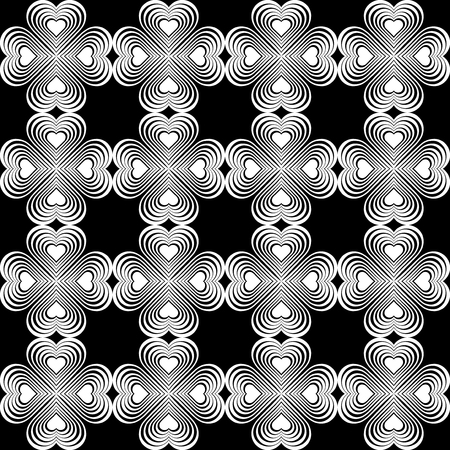 fourleaf: Seamless geometric pattern with stylized hearts. Repeating vintage texture. Abstract white and black background.Monochrome backdrop. Celtic element. Four-leaf clover shaped knots.Vector illustration.