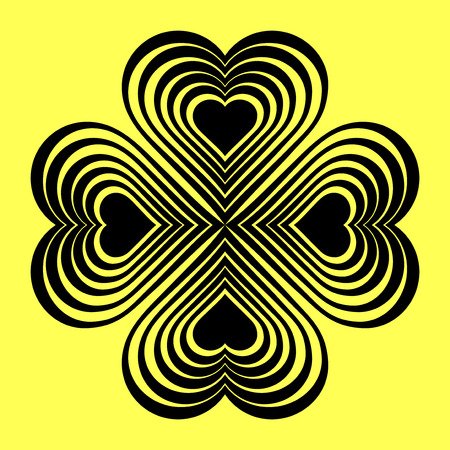 fourleaf: Black Celtic heart knot - stylized symbol. Made of hearts. Four-leaf clover. Isolated design element. Yellow background. Vector illustration. Illustration