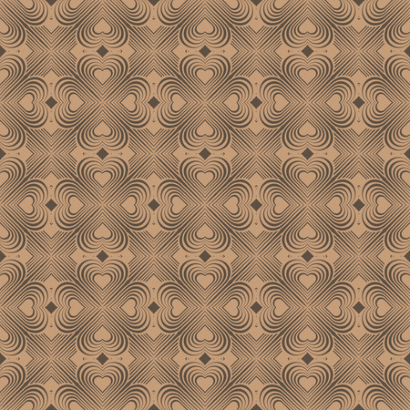coop: Seamless geometric pattern with stylized hearts. Repeating vintage texture. Abstract brown background. Beige retro backdrop. Celtic element. Four-leaf clover shaped knots. Vector illustration. Illustration
