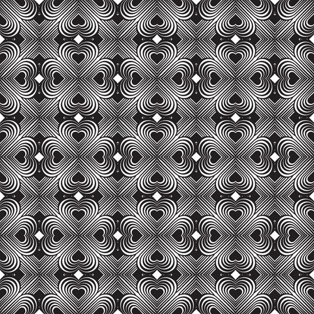 clover backdrop: Seamless geometric pattern with stylized hearts. Repeating vintage texture. Abstract white and black background. Retro backdrop. Celtic element. Four-leaf clover shaped knots.Vector illustration. Illustration
