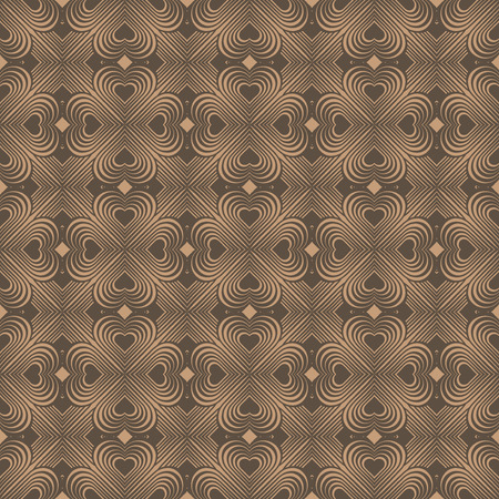 fourleaf: Seamless geometric pattern with stylized hearts. Repeating vintage texture. Abstract brown background. Beige retro backdrop. Celtic element. Four-leaf clover shaped knots. Vector illustration. Illustration