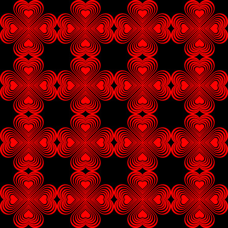 clover backdrop: Seamless geometric pattern with stylized hearts. Repeating vintage texture. Abstract red and black background. Dark retro backdrop. Celtic element. Four-leaf clover shaped knots. Vector illustration.