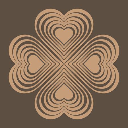 fourleaf: Beige Celtic heart knot - stylized symbol. Made of hearts. Four-leaf clover. Isolated design element. Brown background. Vector illustration.