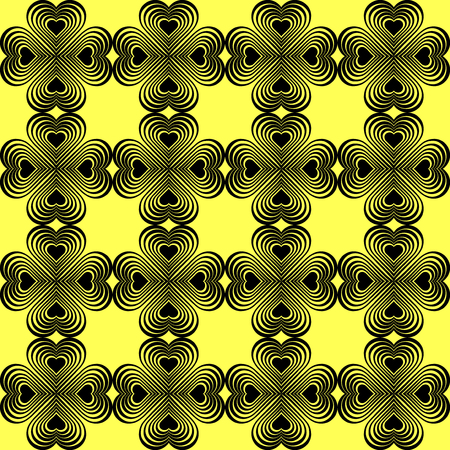 clover backdrop: Seamless geometric pattern with stylized hearts. Repeating vintage texture. Abstract yellow and black background.Bright backdrop. Celtic element. Four-leaf clover shaped knots.Vector illustration. Illustration