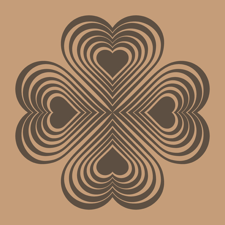 chinese symbol: Brown Celtic heart knot - stylized symbol. Made of hearts. Four-leaf clover. Isolated design element. Beige background. Vector illustration. Illustration