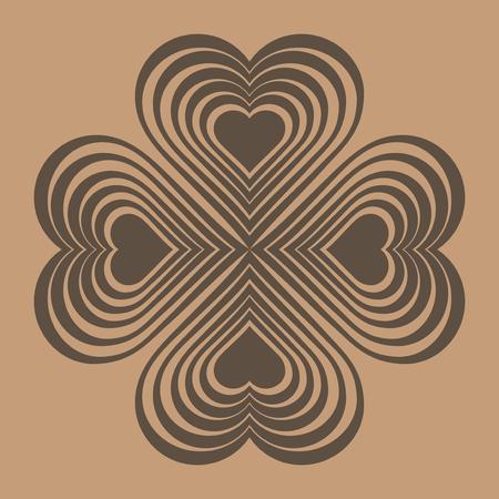 ethnographic: Brown Celtic heart knot - stylized symbol. Made of hearts. Four-leaf clover. Isolated design element. Beige background. Vector illustration. Illustration