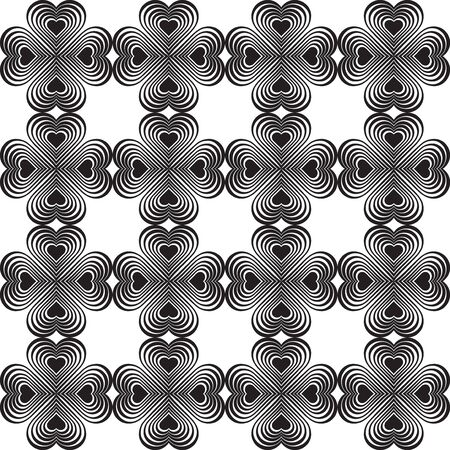 coop: Seamless geometric pattern with stylized hearts. Repeating vintage texture. Abstract white and black background.Monochrome backdrop. Celtic element. Four-leaf clover shaped knots.Vector illustration.